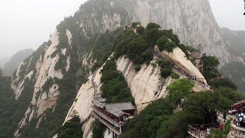 HD 00:05 Huashan mountain North Peak view - Xian, Shaaxi Province, China