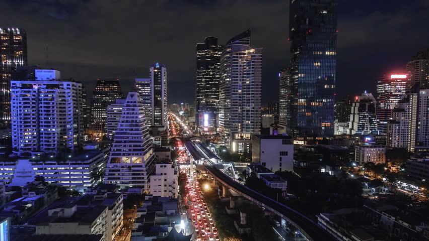 4K. Time lapse Bangkok City View at Night and BTS Thailand