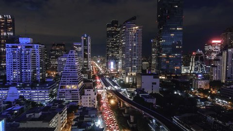 4K. Time lapse Bangkok City View at Night and BTS Thailand