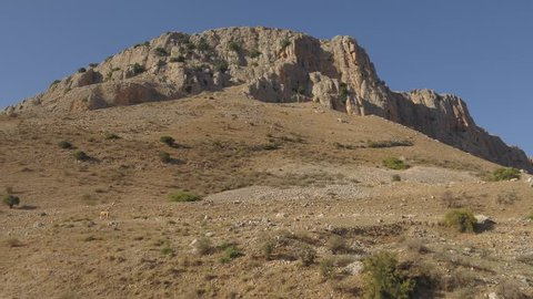 An epic drone shot of Mount Arbel in Galilee, northern Israel.