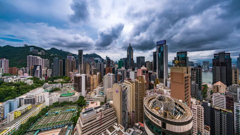 Wan Chai, Hong Kong - June 24, 2018: Wan Chai Timelapse view showing city skyscrapers on overcast day