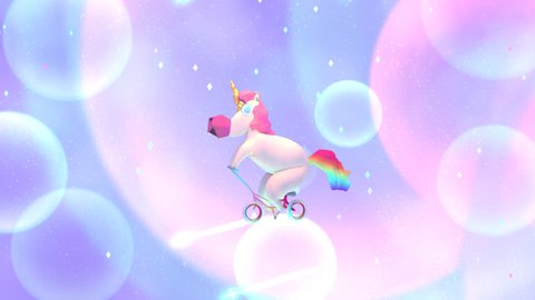 3d funny unicorn riding bike and shooting stars animation. (Looped)