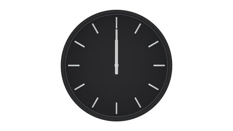 Elegant black clock without numbers shows passing time. Loop ready animation of rotating 360 degrees clock hands.