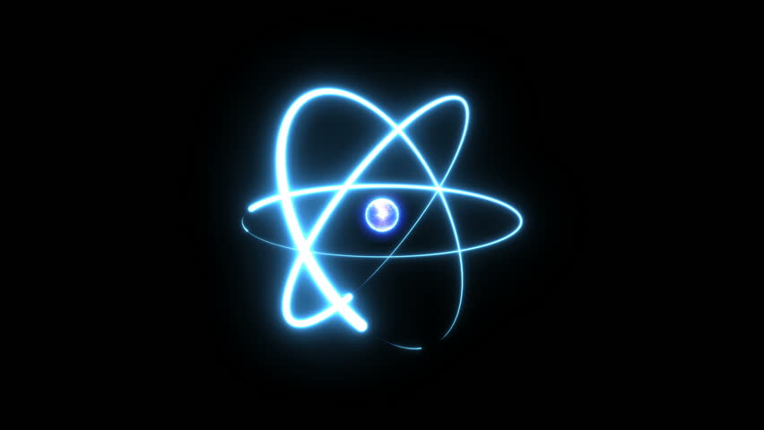 Icy atom circle magic shiny rotation around the core on a black background