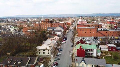 MARTINSBURG, WEST VIRGINIA - CIRCA 2017 - Aerial over Martinsburg, West Virginia shows a typical all amercian town.