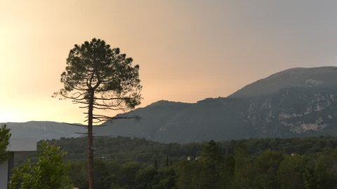Time lapse of Pays Arriere in Provence, France hills and foot of Alps mountains in summer, near Grasse.