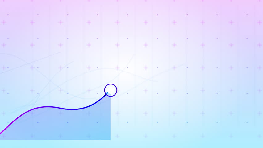 Close up of colorful growing graph animation. Purple and blue. Following the line graph to show positive growth and progress. 4k animation.