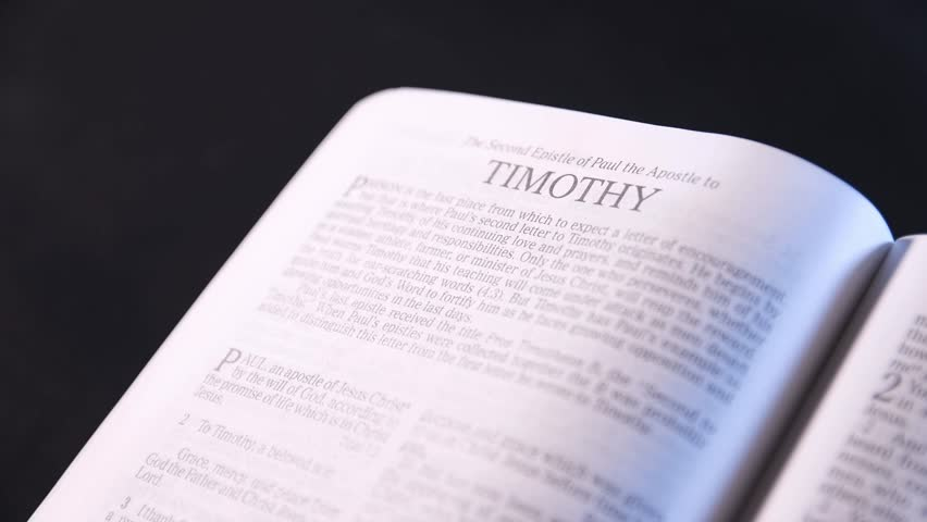 Seattle WASHINGTON - January 10, 2018: Holy Bible, New King James Red-letter Edition, Zoom in on Book of the Bible, 2nd Timothy