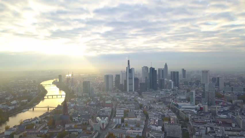 Cinematic Aerial of the Skyline of Frankfurt | Shutterstock HD Video #1013489567