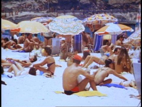 BRAZIL, 1982, Rio de Janeiro, Copacabana beach, medium shot crowd