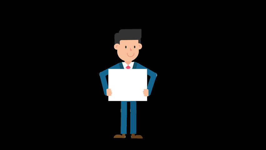 Animated corporate white man dressed in a blue suit with a red tie is standing up holding an empty whiteboard in front of him with both his hands | Shutterstock HD Video #1013504207