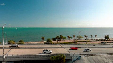 Drone Panning William M. Powel Bridge Miami