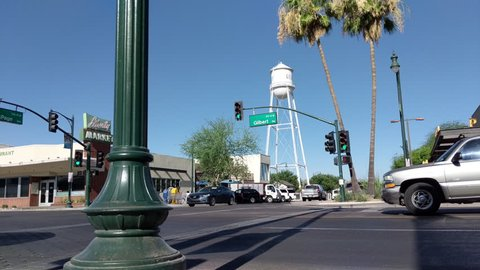 4K of Vintage Old Town Street with White Water Tower