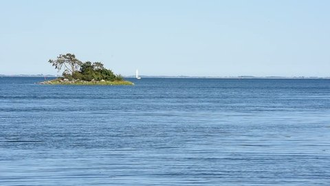 Small island with a mini forest on a sunny summer day. A sailboat passing behind it on the calm sea. Location Monsteras archipelago in Sweden.