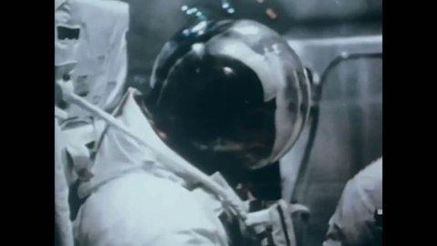CIRCA 1971 - An astronaut ambles around on the moon.