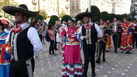 ROMANIA, TIMISOARA - JULY 5, 2018: Group of dancers from Mexico in traditional costume present at the international folk festival INTERNATIONAL FESTIVAL OF HEARTS organized by the City Hall Timisoara.