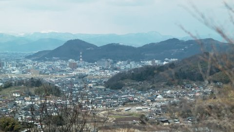 Beautiful view of Fukushima city from mountain side.
