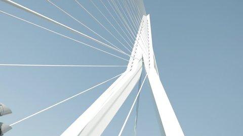 The Erasmus bridge of Rotterdam. A rotating shot.