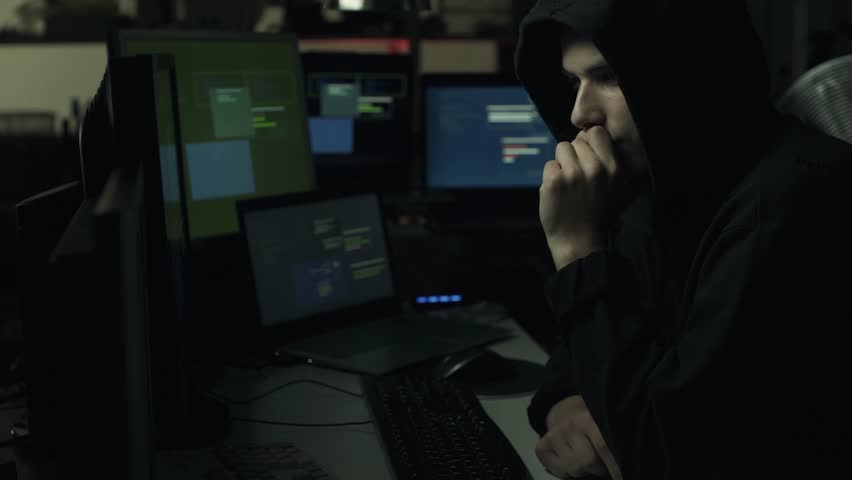 Cyber criminal hacking computer networks online, cyber security and malware concept, video montage | Shutterstock HD Video #1013580587