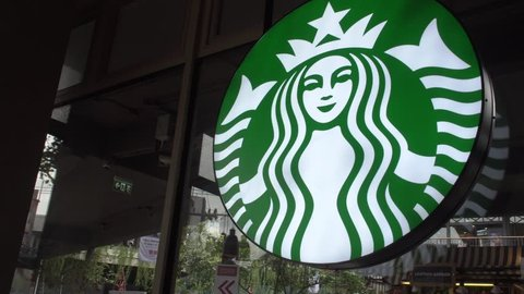 SAMUI, THAILAND - MAY 31, 2018: Starbucks Emblem in Coffee Shop