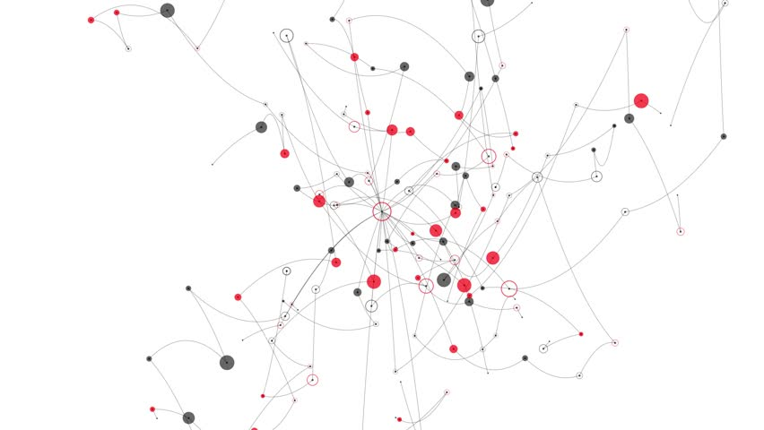Abstract diagram of a nodes and connectors network. Circles, dots and lines form a chaotic web of connections. | Shutterstock HD Video #1013591417