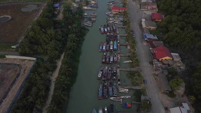 Fine art footage, Aerial view of Fisherman jetty at Kelanang beach, Malaysia during sunset. 4k | Shutterstock HD Video #1013591867