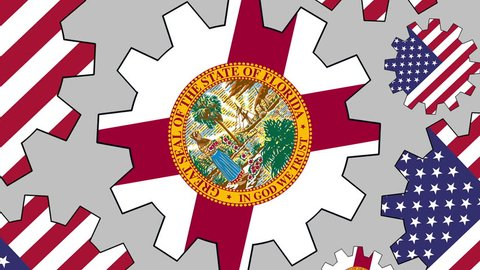 American and Florida US state flag gears rotating background zooming out