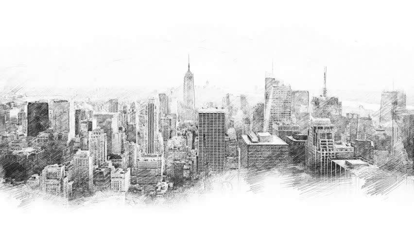 Sketch style cityscape and network connections  | Shutterstock HD Video #1013597417