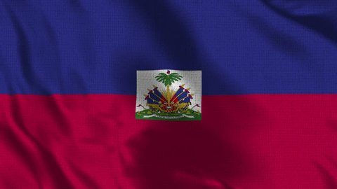 Haiti Flag Loop - Realistic 4K - 60 fps flag of the Haiti waving in the wind. Seamless loop with highly detailed fabric texture. Loop ready in 4k resolution