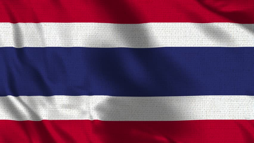 Thailand Flag Loop - Realistic 4K - 60 fps flag of the Thailand waving in the wind. Seamless loop with highly detailed fabric texture. Loop ready in 4k resolution