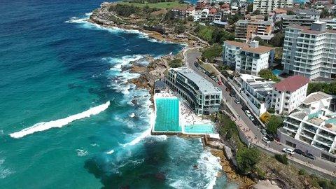 Aerial drone shot over Bondi Icebergs Pools on Bondi beach, Sydney, New south wales Australia