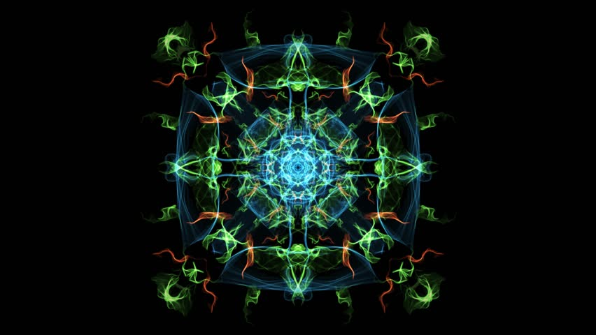 Abstract multicolored fractal animation in square composition, effect of variegated smoke. Nice symmetric ornament on black background.