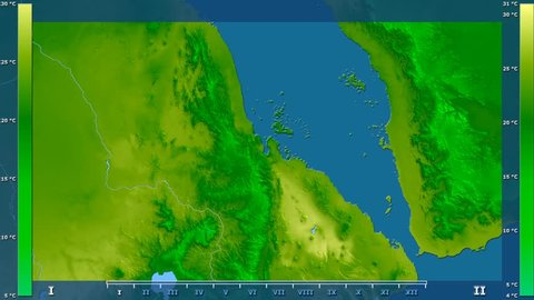 Average temperature by month in the Eritrea area with animated legend - raw color shader. Stereographic projection