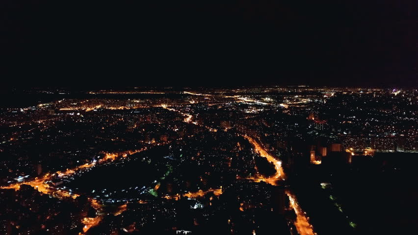 The flight above the city landscape. evening nigth time, quadrocopter shot   Shutterstock HD Video #1013645417
