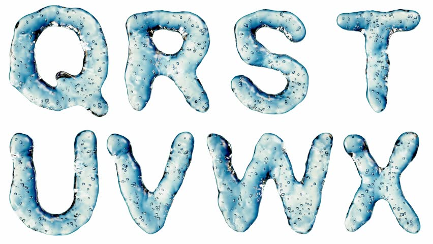 Alphabet from water isolated on a white background. The letter Q R S T U V W X . alpha channel 3d rendering 4K