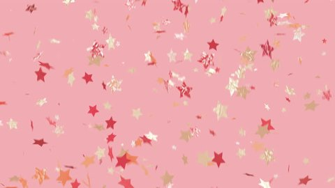 Party like a star!! Trendy, glam, modern looking, and loopable. Multi-color star shaped confetti over background. See portfolio for similar and much more!