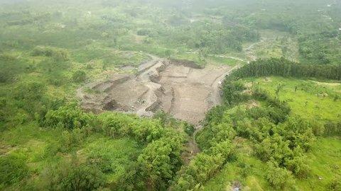 Aerial shot of construction site in Mount Merapi,Yogyakarta, Indonesia