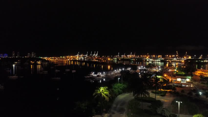 Night drone footage Port Miami | Shutterstock HD Video #1013690897