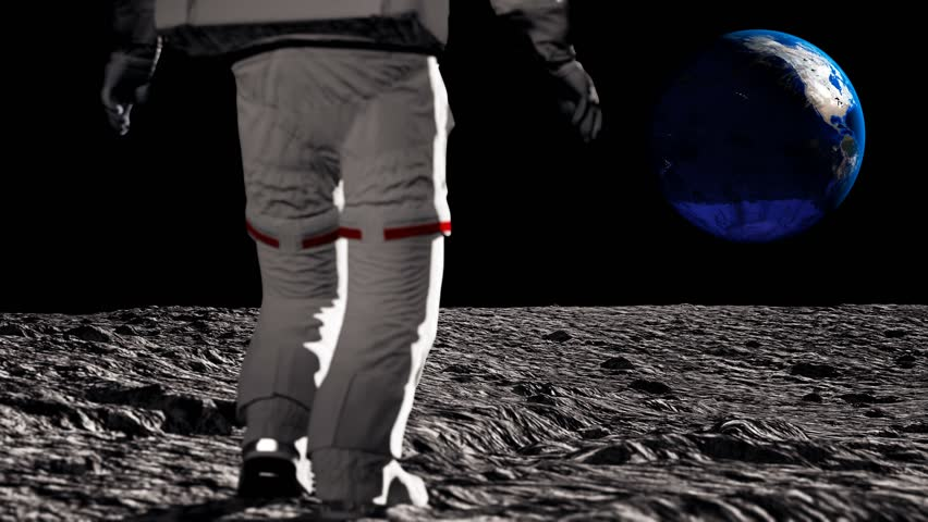 Astronaut walking on the moon and admiring the beautiful Earth. Waving his hand to the Earth. CG Animation. Elements of this video furnished by NASA.