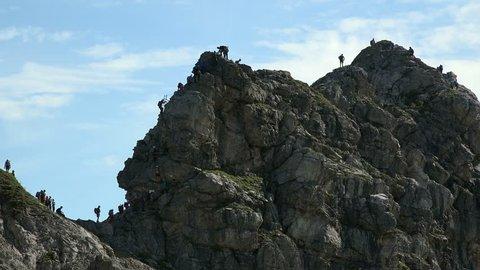 Mountain Climbers at the Hindelanger Klettersteig on Nebelhorn Mountain (2224m), Oberstdorf, Allg?u, Swabia, Bavaria, Germany