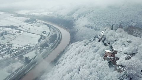 Aerial view of the Funerary Chapel for John of Luxembourg in winter, Kastel-Staadt, Saar Valley, Rhineland-Palatinate, Germany