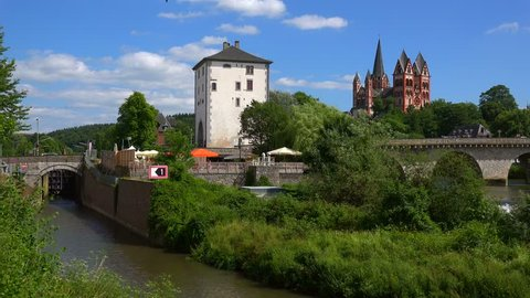Old Lahn Bridge and Cathedral of Limburg, Limburg an der Lahn, Westerwald, Hesse, Germany, Europe