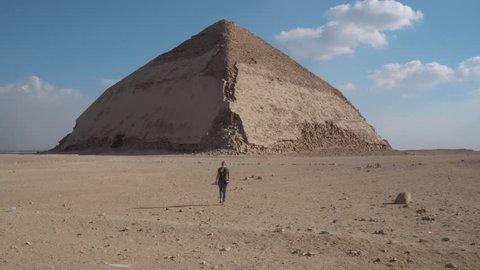 Walking to pyramid Egypt