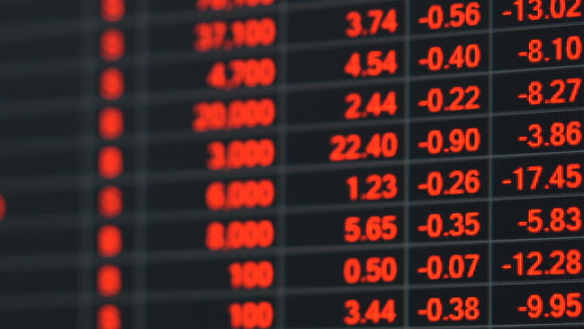 Economic crisis - Red stock market price board chart showing economic crisis of world stock. Bad economy and negative price down stock market situation. Traders are panic and selling their stock.   Shutterstock HD Video #1013835917