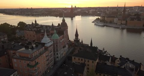 Aerial view of a beautiful summer sunset in Stockholm Sweden. Looking over Sodermalm.