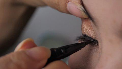 slow motion, eyeliner pen makeup beauty of beautiful eye