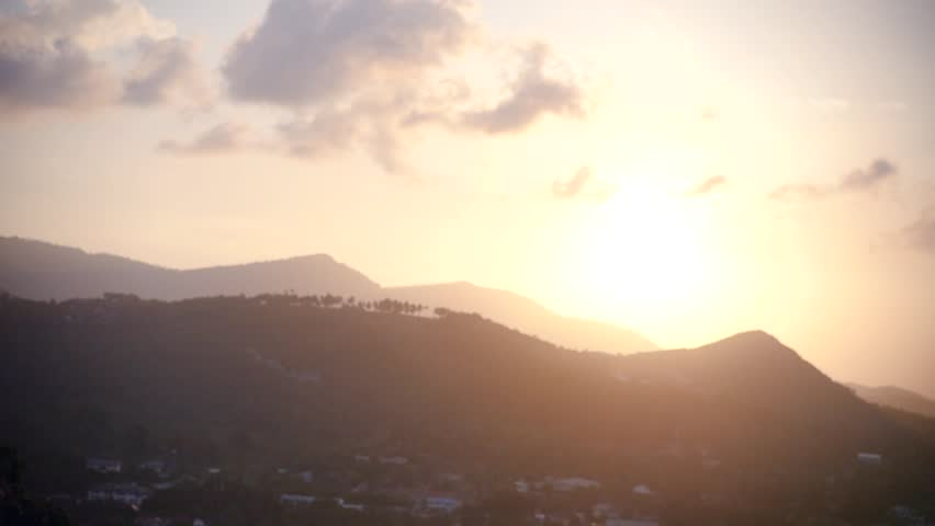 Meet the sunset, standing on the mountain and hug your second half. Slow motion, HD, 1920x1080   Shutterstock HD Video #1013846387