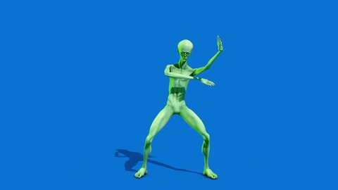 Howard the Alien Dances Blue Screen 3D Rendering Animation