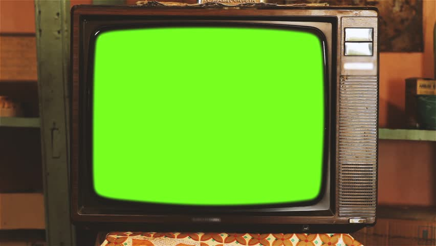 """80s Television with Green Screen. 60s Tone. Zoom In. Ready to Replace Green Screen with Any Footage or Picture you Want. You Can Do it With """"Keying"""" (Chroma Key) Effect in After Effect. 