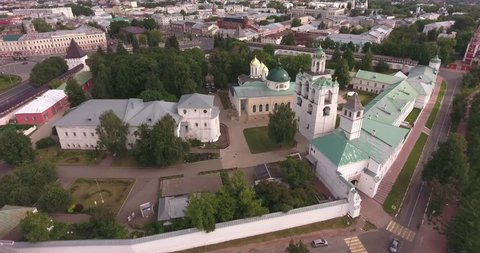 Yaroslavl Kremlin from a bird's-eye view, aerial of the main sight. Russia, Gold Ring